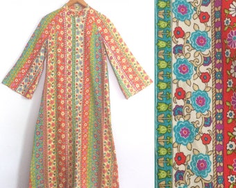 Vintage 60s 70s Boho Hippie Caftan Dress / Bell Sleeves Festival Dress / Colorful Psychedelic Floral Print Kaftan