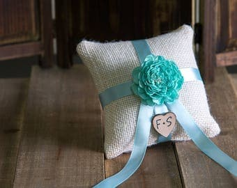 Aqua Sola Flower Ring Bearer Pillow, You pick flower and ribbon color
