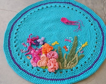 Coral Reef Mat, Coral Reef Playmat, Under the Sea Playmat, Under the Sea Bathmat, Crochet Nursery Mat, Children's Playmat, Sea Creatures Mat
