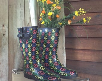 Rasolli Peace Symbol Rubber Rain Boots, Re-purposed Fresh Flower Vase, Spring Home Decor, Rain Showers