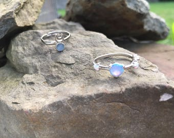 Blue Opal adjustable star ring. Delicate  ring . Opal ring. Sterling silver  . Orions Belt ring.