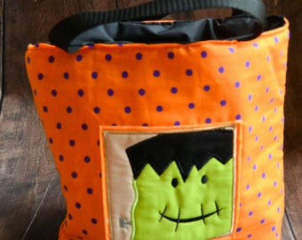 Frankenstein Trick or Treat Bag, ready to ship, trick or treat, treat bag, bats, holidays