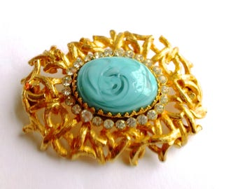 Castlecliff Aqua & Gold Brooch with Rhinestones Retro Mad Men Glam Couture Jewelry