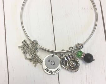 FLASH SALE Baseball Mom Silver personalized hand-stamped bangle Name Jersey Number Team Colors
