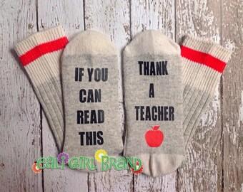 Thank a Teacher, Fun Socks, FAST SHIP, Bring Me Socks, Custom socks, Silly Saying, Socks, Novelty Socks, End of the Year, Teacher Gifts