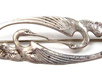 Vintage Sterling Silver GFMW Great Falls Metalworks CRANE Birds Brooch Pin Bird