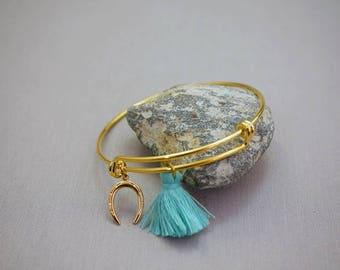 Adjustable Gold Bangle Bracelet Hand made Bracelet Horseshoe Charm Bracelet Tassel Bracelet