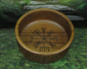 Asatru Blot Bowl: Vegvisir, Blot Blessing Bowl, Norse Bowli, Asatru Ritual Bowl, Asatru Blessing Bowl, Viking Blessing Bowl, Viking Bowli