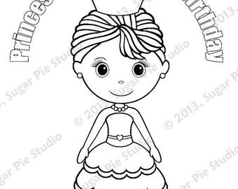 on sale personalized printable princess birthday party favor childrens kids coloring page book activity pdf or jpeg file