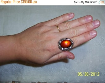 TWICE A YEAR, 25% Off Vintage Amber Ring. Sterling Silver.