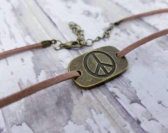 Bronze peace sign choker, peace sign necklace, black leather, tan leather peace choker, boho choker, Gypsy jewelry, free spirit gift for her