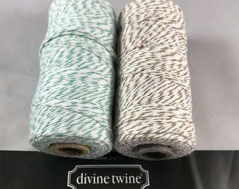 Divine Twine - Bakers Twine - 100% Cotton  - Seaside - Teal and Brown Sugar Twist Two Pack - Your Choice of Length