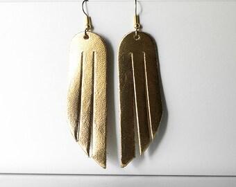 Leather Earrings / Fringe / Gold Metallic