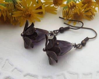 Water Lily Drop Earrings Purple in Brass Tone