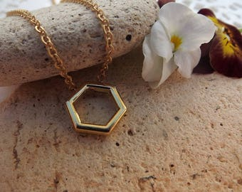 Geometric Necklace. Hexagon Necklace. Gold Plate. Minimalist Jewellery