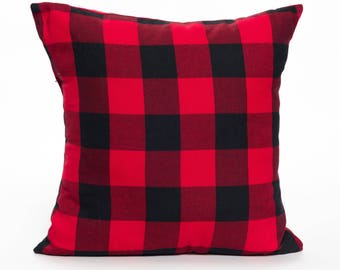 Buffalo Plaid | Buffalo Check | Red and Black | Pillow Cover | Check | Pattern | Plaid | Lumberjack | Accent Pillow | Throw Pillow