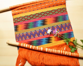 """Woven Wall Hanging, Hand Made Tapestry, Colorful Textile with Geometric Patterns and Hand Carved Wood Dowels, 21"""" x 13"""" Made in Guatemala"""