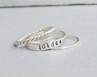 Dainty Personalized Ring, Stacking Name Rings, Custom Name Rings, Dainty Name Ring, Mom Name Ring, Custom Mom Ring, Ring With Kids Name
