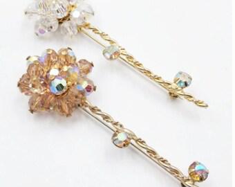 Vintage 1950's Crystal Cluster Flower Pin Set, Brown Topaz Crystal Flower Pin, Clear Aurora Borealis Crystal Flower Brooch