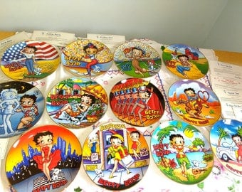 """1993 Betty Boop Danbury Mint  Full Set 12 Collector Plates This is the Life America's Sweetheart 8"""" With Certificates"""