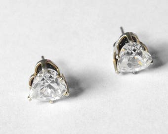 Vintage Sterling Silver Signed CZ Heart Post Stud Pierced Earrings DQ