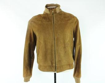 50s Breier of Amsterdam Suede Jacket Brown Leather Bomber Coat Vintage 1950s Medium M Mens 42