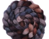 Hand painted spinning fiber - Wensleydale wool combed top roving - 4.1 ounces - Broken Ledge
