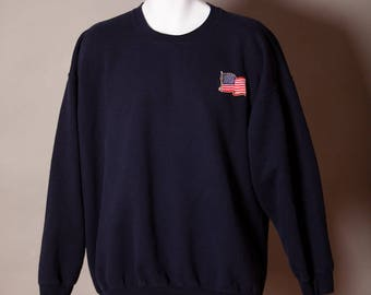 80s 90s Navy Sweatshirt with American Flag Patch - XL