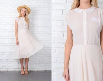 Vintage 80s Cream Sheer Dress White Floral Lace Shirtdress Shirt Dress Stripe L 9801