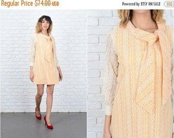 ON SALE Vintage 60s Yellow + Cream Mini Dress Mod Floral Cutout A Line Gogo Small S 9252