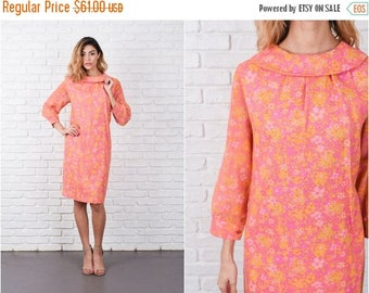 ON SALE Pink Psychedelic Floral Print Dress Vintage 60s A Sheer Sleeve Yellow Flower M L 8330