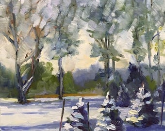 Snowy Evergreens Plein Air Winter Landscape Oil Painting on Canvas