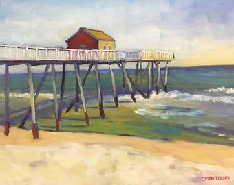 By the Ocean Pier Plein Air Landscape Oil Painting