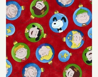 SUMMER SALE Peanuts Characters Ornaments on Red from Quilting Treasure's Christmas Time
