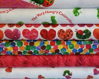 The Very Hungry Caterpillar I Love You Bundle from Andover Fabric by Eric Carle - 6 Fabrics Plus Panel