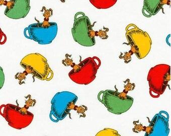 Dr. Seuss Hop on Pop in Tea Cups on White From Robert Kaufman's Hop on Pop Collection by Seuss Enterprises