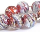 Swirls - Handmade Lampwork Glass Beads - Round Shaped Handmade Bead Set  - SRA