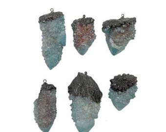 10% off July 4th SALE Aqua Cactus Quartz Freeform Pendant with Electroplated Gun Metal and Bail (S118B7-08)