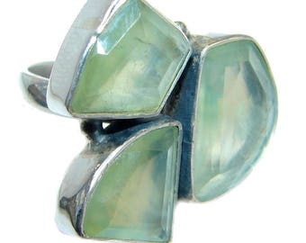 Prehnite Ring in Sterling Solid Silver size 7 1/4