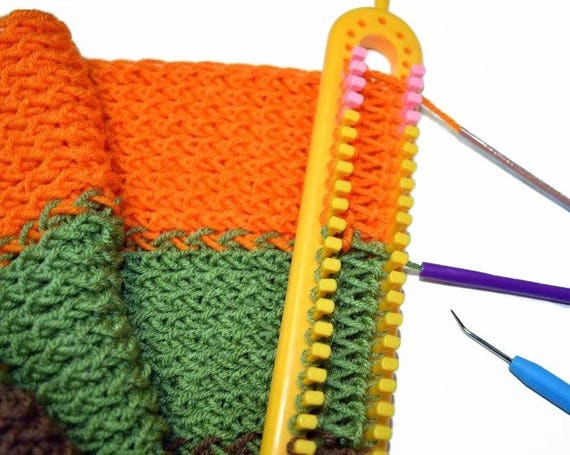 Knitting Loom 12 Pegs : Long knitting loom board with removable pegs
