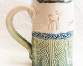 little dog ceramic coffee mug 16oz stoneware 16B083