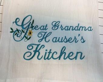 Personalized Kitchen Towel, Dish Towel, Flour Sack Towel, Grandmas Kitchen, Tea Towels, Monogrammed Towel, Grandma Gift, Farm Kitchen Decor