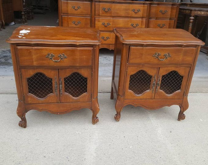 Pair of Vintage french provincial Shabby chic night tables, PICK UP ONLY  france bedroom, night stand, bedside table, french country,