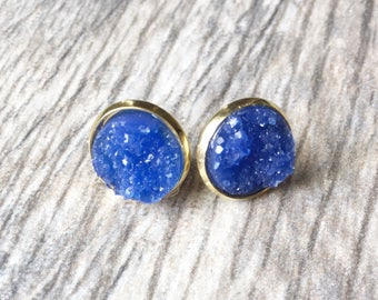 Royal Blue Druzy Earrings,  Resin Druzy Earrings, Gemstone Earrings, Druzy Stud Earrings, Druzy Jewelry