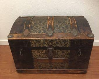 Vintage trunk bohemian gypsy trunk • antique wedding trunk • camelback trunk • antique trunk • humpback trunk
