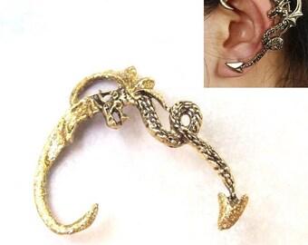 Gold Dragon Ear Cuff, gold ear wrap, dragon ear wrap, gold ear cuff, gothic, halloween, goth, sparkle, costume, painted