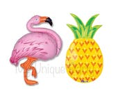 "Pineapple Balloon Large 31"" Mylar Flamingo Balloon Large 35"" Mylar Balloon Fiesta Party Bachelorette Party Aloha"