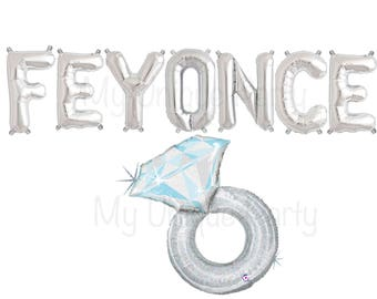"FEYONCE Silver Letter Balloons Air Fill only ""FEYONCE"" Banner / Large 38"" Mylar Silver Ring Balloon Helium Quality Engagement Party"
