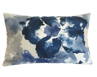 """Blue Floral Watercolor Decorative Throw Pillow Cover / Cushion Cover 14x22"""""""