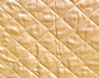 1950's CHAMPAGNE SATIN QUILTED vintage fabric cotton backing lingerie hollywood glamour luxury